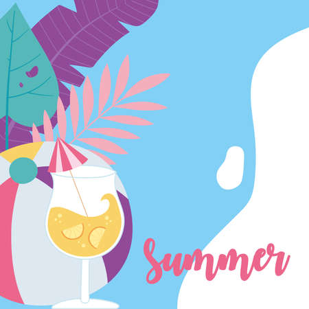 summer time vacation tourism ball cocktail with umbrella and leaves background vector illustration Çizim