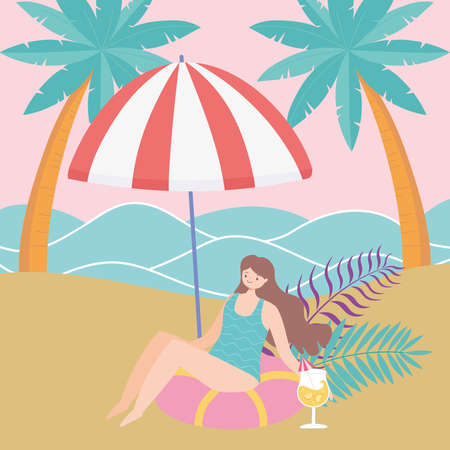 summer time beach woman drinking cocktail relaxing under umbrella vacation tourism vector illustration