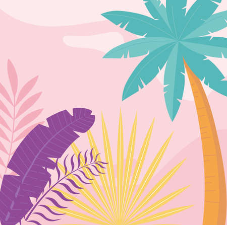 summer time vacation tourism palm trees foliage leaves background vector illustration Çizim