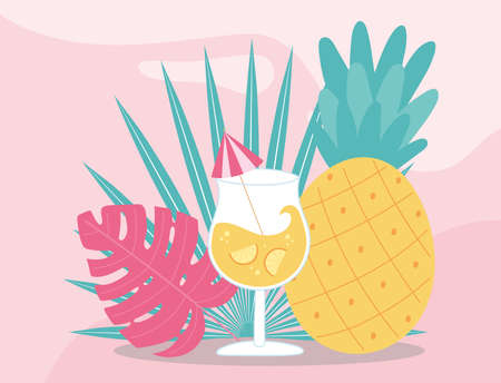 summer time vacation tourism pineapple and cocktail with umbrella vector illustration Çizim