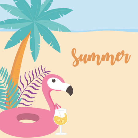 summer time vacation tourism cocktail flamingo float palm leaves sand vector illustration