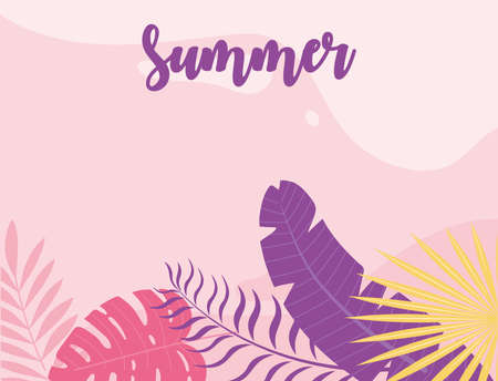 summer time vacation tourism foliage leaves nature banner vector illustration