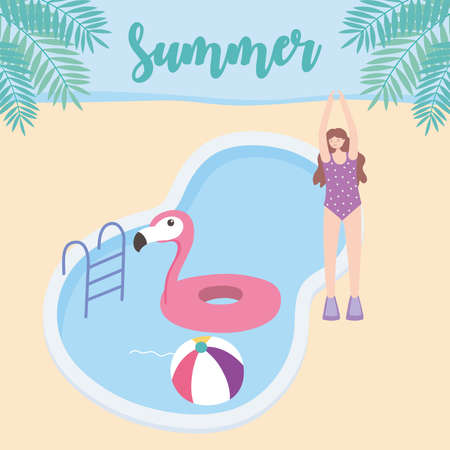 summer time girl with pool flamingo float and ball vacation tourism vector illustration