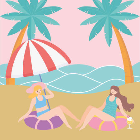 summer time beach girls sitting on floats vacation tourism vector illustration