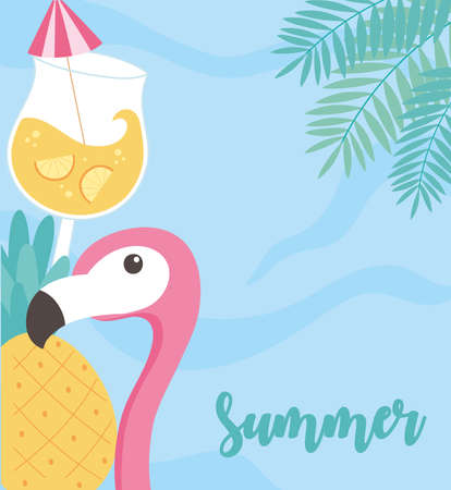 summer time vacation tourism flamingo cocktail sea and pineapple background vector illustration Çizim
