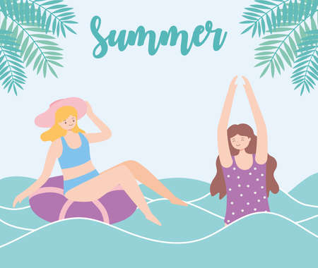 summer time girls in sea with float beach vacation tourism vector illustration