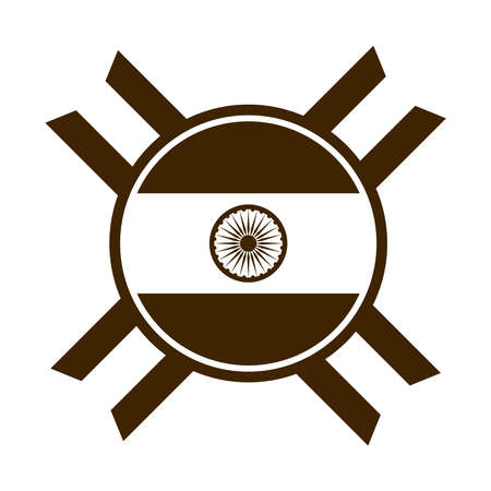 happy independence day india, ashoka wheel national emblem vector illustration silhouette style icon Ilustrace
