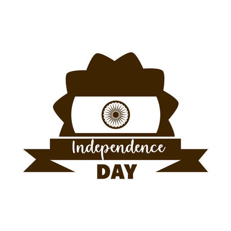 happy independence day india, flag ribbon traditional vector illustration silhouette style icon Ilustrace