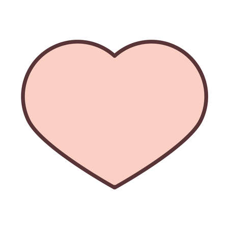 love heart romantic feeling line and fill icon vector illustration Ilustracja