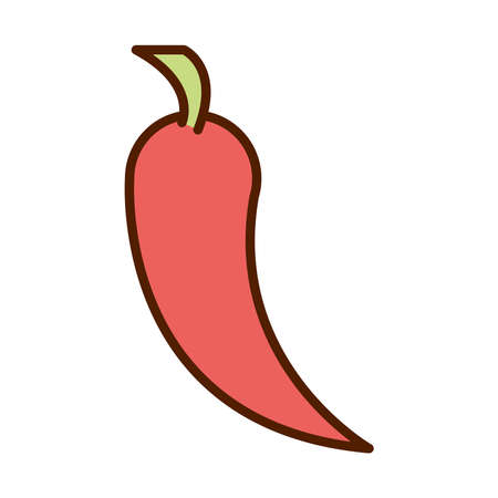 healthy food fresh vegetable raw chili pepper ingredient line and fill style icon vector illustration