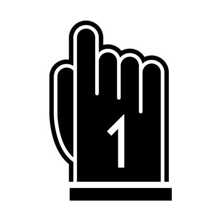 american football hand finger number one game sport professional silhouette design icon vector illustration