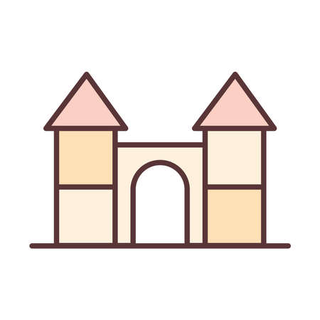 baby castle toy, object newborn template line and fill design icon vector illustration Иллюстрация
