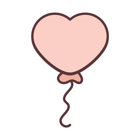 balloon shape heart love decoration celebration line and fill icon vector illustration