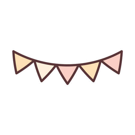 pennants decoration celebration festive party line and fill icon vector illustration