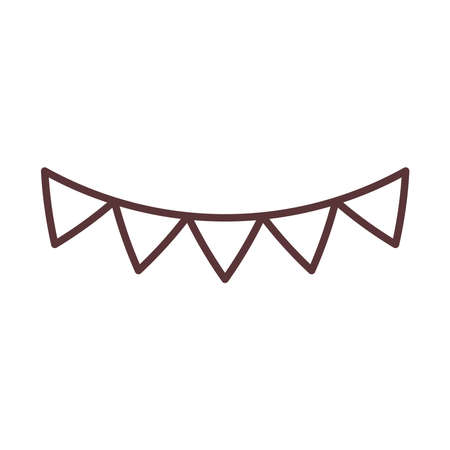 pennants decoration celebration festive party line style icon vector illustration