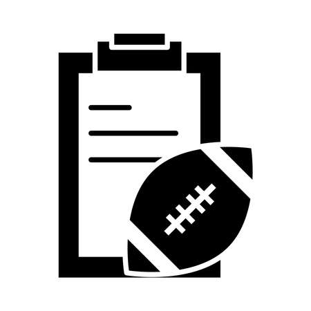 american football clipboard and ball equipment game sport professional and recreational silhouette design icon vector illustration