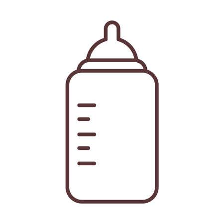 baby feeding bottle milk and care newborn template line style icon vector illustration Иллюстрация