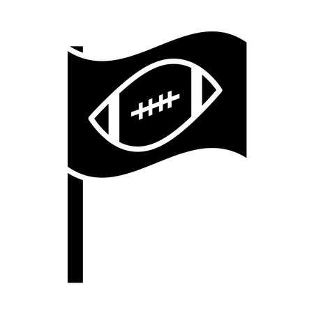 american football flag with ball game sport professional and recreational silhouette design icon vector illustration