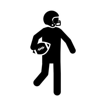 american football player with ball and helmet game sport professional and recreational silhouette design icon vector illustration