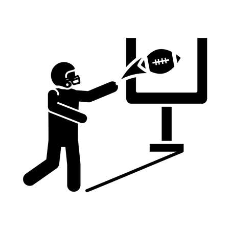 american football player with ball and goal game sport professional and recreational silhouette design icon vector illustration Иллюстрация