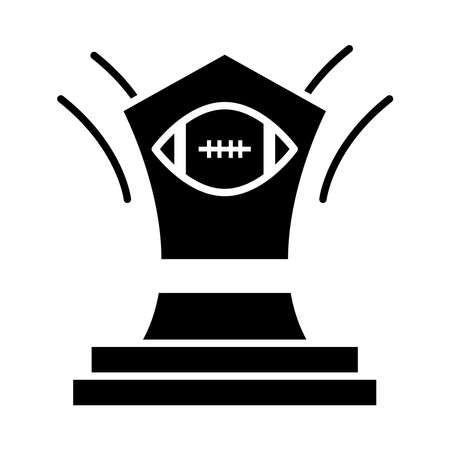 american football trophy prize game sport professional and recreational silhouette design icon vector illustration