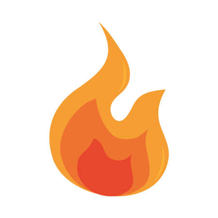 fire flame burning hot glow flat design icon white background vector illustration