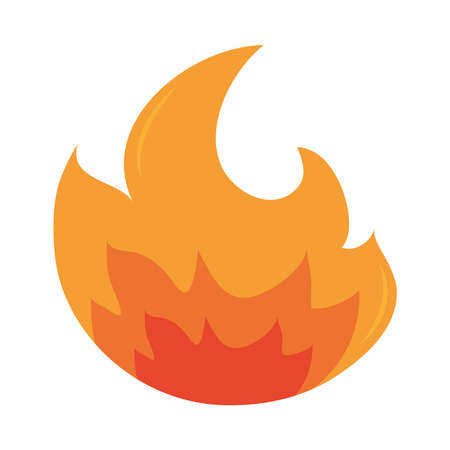 fire flame burning hot glow flat design icon white background vector illustration Фото со стока - 150891113