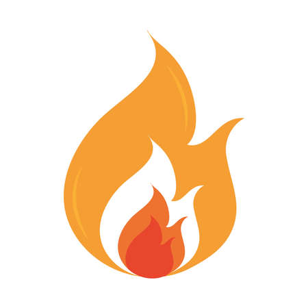fire flame burning hot glow flat design icon white background vector illustration Фото со стока - 150891198