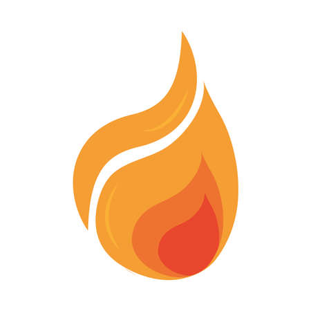 fire flame burning hot glow flat design icon white background vector illustration Фото со стока - 150891199