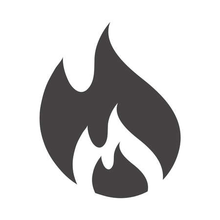 fire flame burning hot glow silhouette design icon white background vector illustration