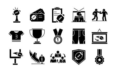 american football game sport professional and recreational icons set silhouette design icon vector illustration