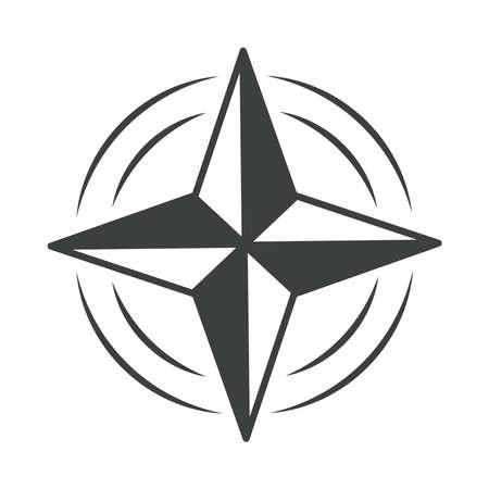 compass rose navigation cartography equipment vector illustration line design icon