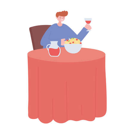 man in the restaurant eating and drinking alone because of social distancing restrictions, covid 19 pandemic vector illustration