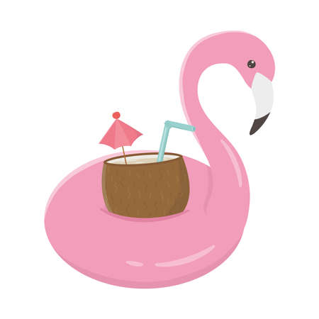 summer travel and vacation flamingo float with coconut cocktail isolated design icon vector illustration Illustration
