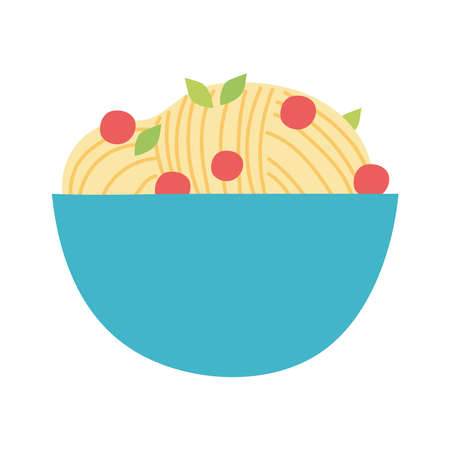 noodles with tomatoes in bowl food isolated design icon white background vector illustration