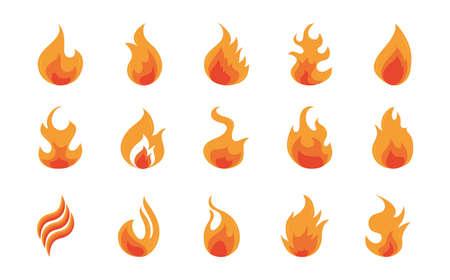 fire flame burning hot glow flat design icons set white background vector illustration