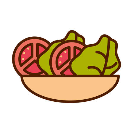 healthy food fresh vegetable raw ingredient tomato lettuce salad in bowl line and fill style icon vector illustration