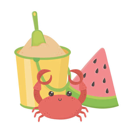 summer travel and vacation beach crab watermelon and bucket with sand isolated design icon vector illustration