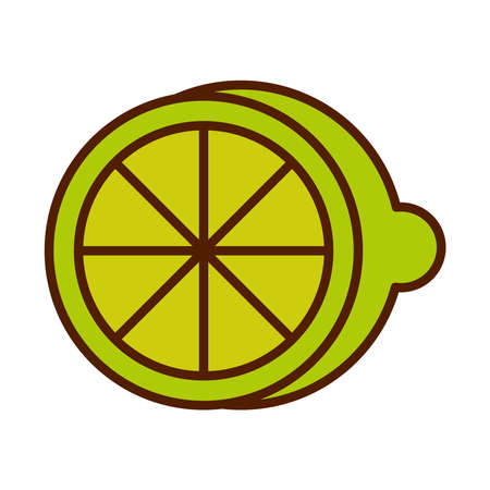 healthy food fresh fruit product half lemon citrus line and fill style icon vector illustration Ilustração