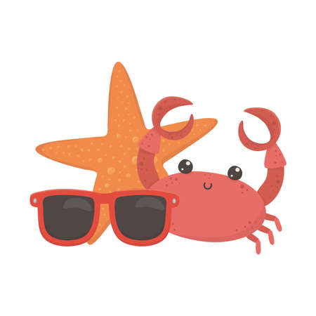 summer travel and vacation beach crab starfish and sunglasses isolated design icon vector illustration