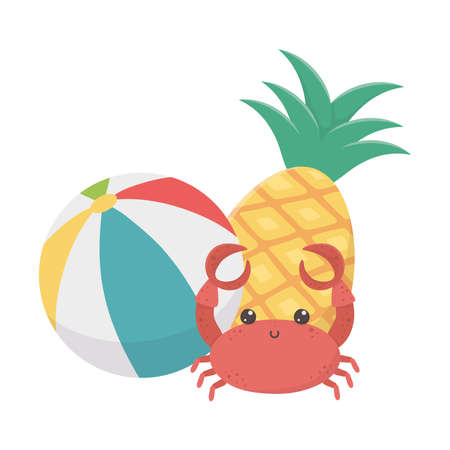 summer travel and vacation pineapple beach ball and crab vector illustration