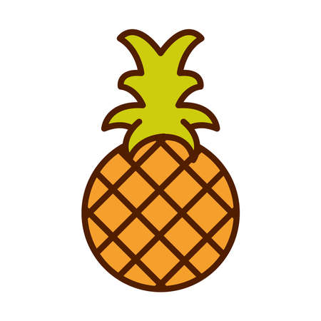 healthy food fresh fruit product tropical pineapple line and fill style icon vector illustration