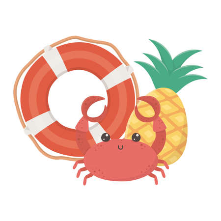 summer travel and vacation beach lifebuoy crab and pineapple isolated design icon vector illustration