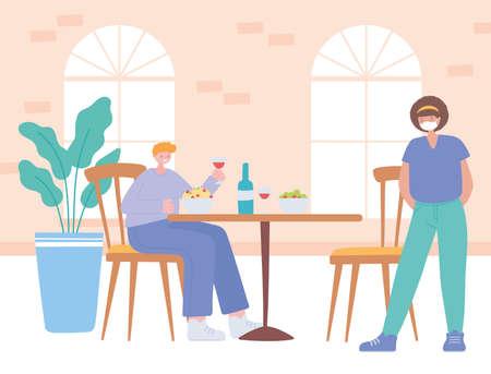 restaurant social distancing, separate customers during lunch, covid 19 pandemic, prevention of coronavirus infection vector illustration Vektorgrafik