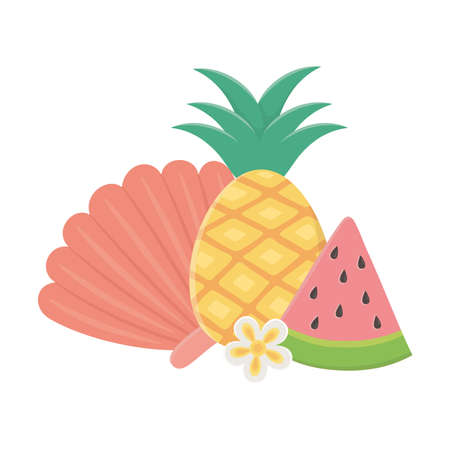 summer travel and vacation pineapple slice watermelon and shell vector illustration Illustration