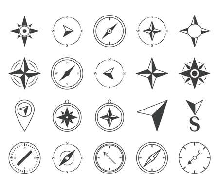 compass rose navigation cartography travel explore equipment icons set vector illustration line design icon