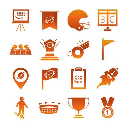 american football game sport professional and recreational icons set gradient design icon vector illustration Illusztráció
