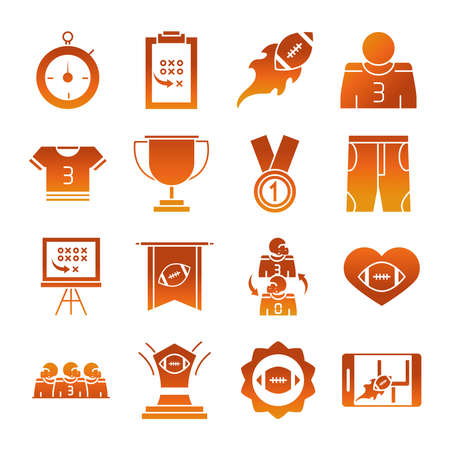 american football game sport professional and recreational icons set gradient design icon vector illustration 일러스트