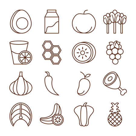 healthy food fresh fruits vegetables and protein ingredient products icons set line style icon vector illustration