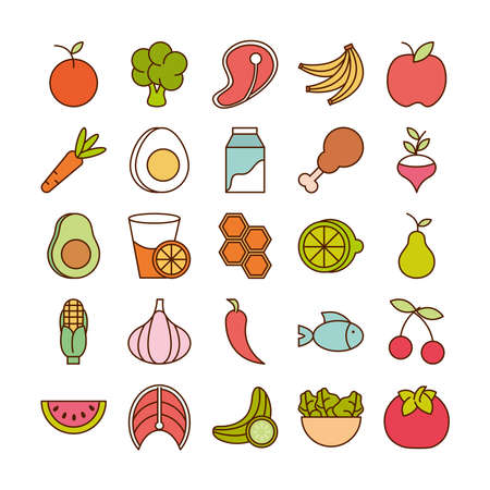healthy food fresh fruits vegetables and protein ingredient products icons set line and fill style icon vector illustration